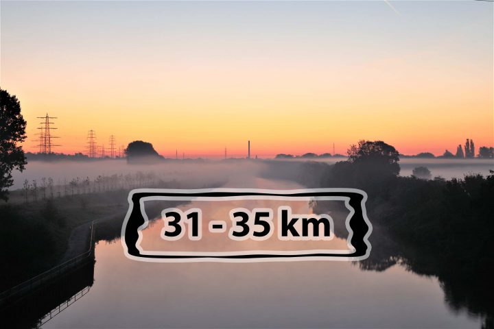Laufstrecken in Oberhausen am Rhein-Herne-Kanal - 31-35 km